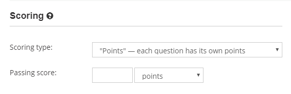 Select the test scoring system for the online test