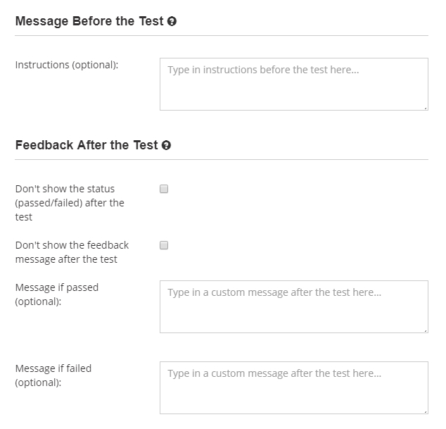 Prepare custom instructions and feedback messages after the test