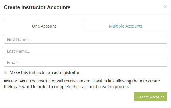 Create instructor accounts to manage your online tests with your colleagues