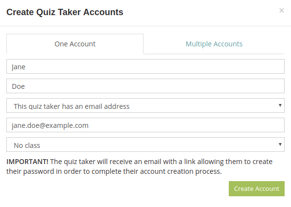 Add a test taker that has an email address to your HmmQuiz account