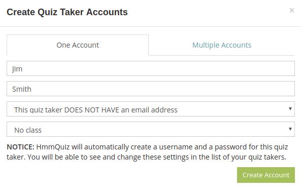 Create one quiz taker account in HmmQuiz