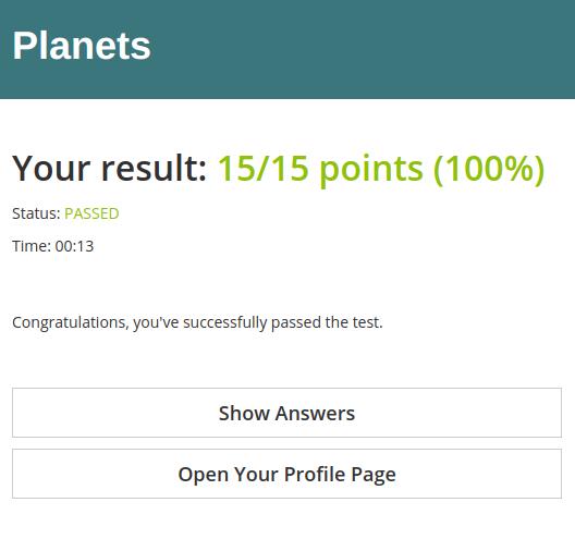 Default online test result page in HmmQuiz