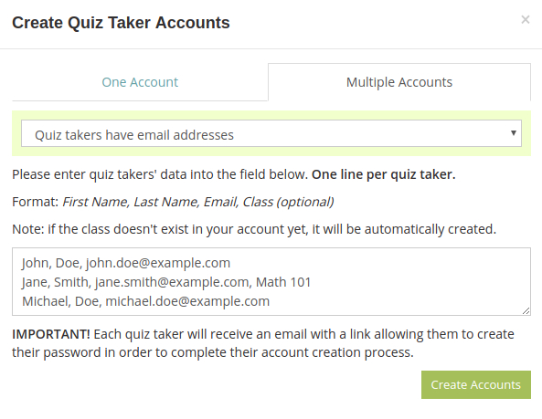Add multiple test taker accounts with email addresses in your HmmQuiz account