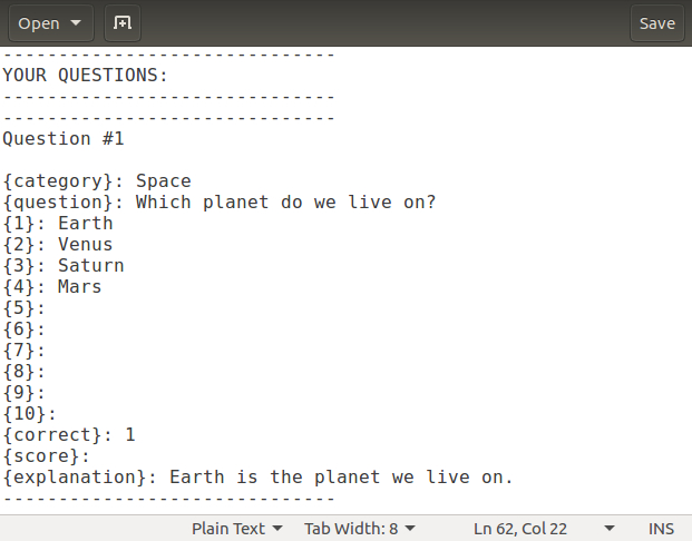 Add questions to the text file in the text editor in order to prepare them to be imported into HmmQuiz
