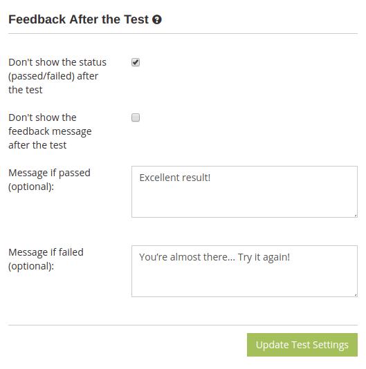 Online test result page settings in HmmQuiz