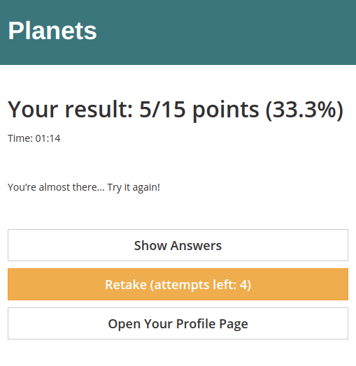 Custom test result page