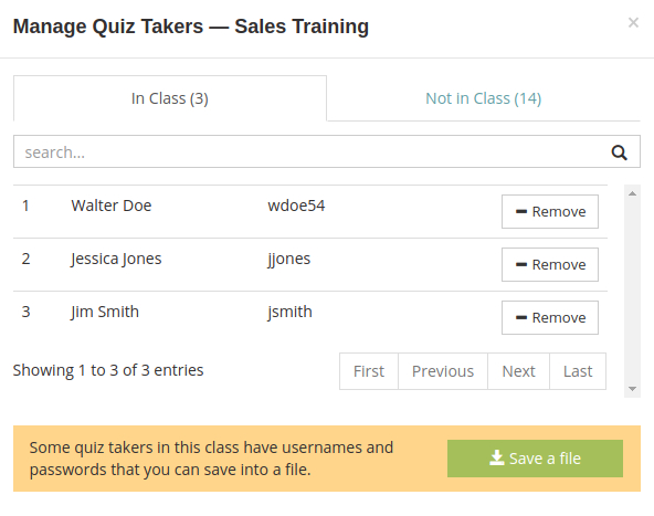 Add quiz takers to the class and save a file