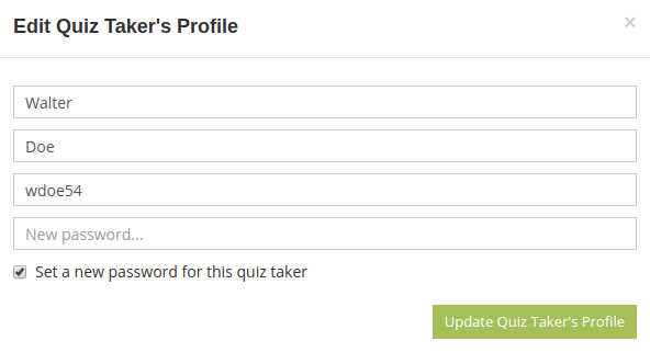 Edit quiz taker's profile in HmmQuiz
