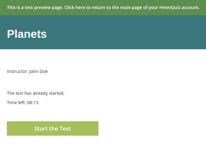 Preview a test after you made it